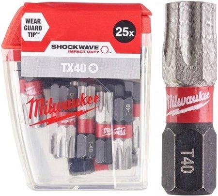 Bit udarowy MILWAUKEE SHOCKWAVE IMPACT DUTY TORX 40mm TX25 25szt